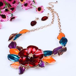 Wholesale Red Statement Bubble Necklace - Red Flowery Women Bubble Bib Statement Necklace Earring Set Fashion Stylish Jewelry Fashion Necklace For Party TL9519*1