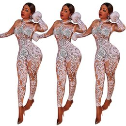 Wholesale Women Bodysuits Fashion - Hot Sale Women New Fashion Sexy Print Skinny Jumpsuits Ladies Night Club Sexy Party Bodycon bodysuits Long Playsuits Winter Vestidos Rompers