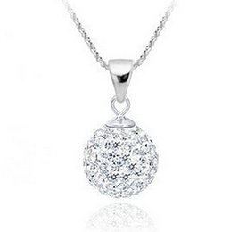 Wholesale Sterling Silver Disco Ball Necklace - Fashion Shamballa Jewelry Pendant Necklaces. 925 Sterling silver Micro Disco Ball CZ diamond crystal choker necklace for women