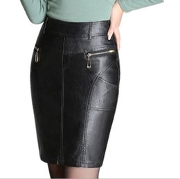 a138f893ea1 Pu Leather Bodycon Woman Pencil Skirts 2017 Female Sexy Clothing Autumn  Winter Black Hight Waist Midi Skirts Womens Plus Size 3XL 4XL