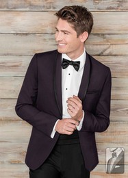 Wholesale Cheap Mens Three Piece Suits - Dark Purple Tuxedos Slim Fit Mens Wedding Suits One Button Groom Wear Two Pieces Cheap Formal Suit(Jacket+Pants+Bow Tie)
