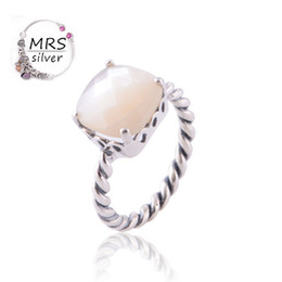 Wholesale Opal Mothers Ring - Wholesale-Genuine 925 Sterling Silver Twisted Band Ring With Mother Of Pearl Opal Silver Rings For Women RIP030 Z15