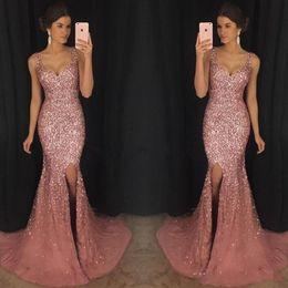 Wholesale Rose Prom Dresses Beading - 2018 Rose Pink Bling V Neck Mermaid Formal Prom Dresses Luxury Crystal Beaded Pageant Dress Major Beading Split Sweep Train Evening Dress