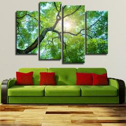 Peinture vert clair en Ligne-4 panneaux Green Tree Art peinture murale impression sur toile pour la décoration intérieure peintures sur mur photos lumière arbres décoration Non encadrée
