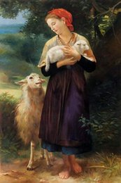 Wholesale Handpainted High Quality Bouguereau Paint - Modern art,The Shepherdess,William Adolphe Bouguereau Painting Canvas,High quality,Hand-painted