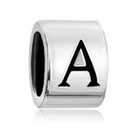Wholesale Alphabet Spacer Beads - Rhodium Plating Black color Enamel column shape Letter bead English alphabet A to Z charm European spacer fit Pandora bracelet