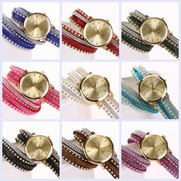 Wholesale Hand Woven Belts - 2015 New Fashion GENEVA brand Women pu Leather with crystal strap Watch Hand-woven bracelet Quartz dress Wristwatch 9 Colors