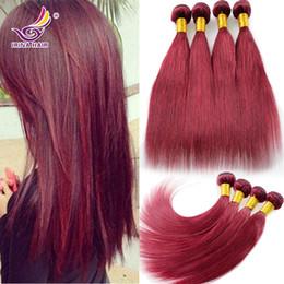 Wholesale Cheap Russian Extensions - Mongolian Virgin Hair Straight 100% Remy human hair extension 99j cheap brazilian hair 4 pcs lot free shipping virgin Burgundy Hair Weaving