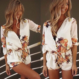 Wholesale V Neck Floral Playsuit - Wholesale-Free Shipping Sexy Women Ladies V Neck Floral Shorts Trousers Clubwear Pants Loose Jumpsuit Playsuit Romper