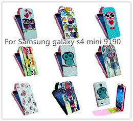 Wholesale Galaxy S4 Mini Flip Covers - Wholesale-New Owl Styles Up and down Flip Leather Silicone Case Cover For Samsung galaxy s4 mini 9190 9192 w  card holder Wallet Stand