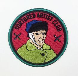 retratos da arte famosa Desconto Nova Chegada TORTURADO CLUBE ARTISTA Auto-retrato de Van Gogh Arte Famosa Trabalho Bordado Patch para Roupas Roupas Patches Frete Grátis