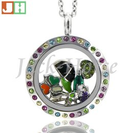 Wholesale Green Float Glass - High quality 316L stainless steel multi color crystal locket twist waterproof locket round floating locket necklace