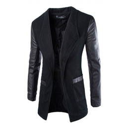 Mens faux trincea online-Wholesale- Giacca da uomo Blazer Trench Faux Leather Splice Open Stitch Coat Soprabito Outwear Nuovo arrivo 0783