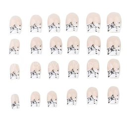 Wholesale french artificial nails - Wholesale-24 French Acrylic Gel False Artificial Nail Art Tips Free Shipping