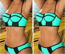 Wholesale Brazilian Bikini Set Xs - 2015 New Women Topmelon Swimwears Neoprene Neon Triangle Padded Push Up High Quality Bikinis Set Brazilian Swimsuit Bathing Suits XS