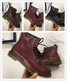 Wholesale Women Fur Boots - 2018 Hot leather boots Winter ankle Style Dr. Genuine Leather Marten Boots Martin Shoes Men&Women Dr Designer waterproof Boots Size 35-45