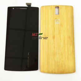 Wholesale Display Touch Digitizer Back Cover - Wholesale-OEM For Oneplus One 1+ A0001 LCD Screen Display + Digitizer Touch Glass Assembly + bamboo back cover