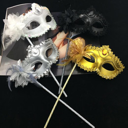 Wholesale Sexy Masquerade White Lace Mask - Luxury Diamond Woman Mask On Stick Sexy Eyeline Venetian Masquerade Party Mask Sequin Lace Edge Lateral Flower Gold Silver Black White Color