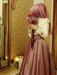 Wholesale Islamic Hijab Muslim Wedding Dresses - Islamic Wedding Dresses With Hijab Long Sleeves Pearl Beading Taffeta A Line Muslim Wedding Dress Zipper 2015 Pink Bridal Gowns