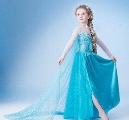 Wholesale Dresses Fashion Star Show - Frozen Christmas dress Cosplay Costume Elsa Frozen Dress Girls Fashion Star Movie Party Show long sleeve Dress for Children With Yarn Cloak