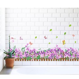 Wholesale Furniture Stickers Decals - Purple flower grass butterfly Clover Skirting Line Flora diy home decal wall sticker Furniture kitchen wedding mural