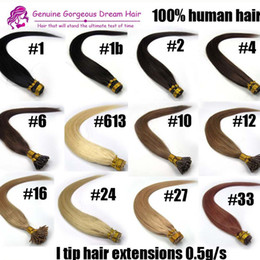 "keratin human hair extensions Coupons - 16""-24"" #613 I tip Hair Extensions Human platinum blonde tangle-free Pre bonded Keratin Hair 0.5g s 100s pack 7A Grade"
