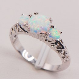 Wholesale White Fire Opal Set - White Fire Opal Australia 925 Sterling Silver Woman Jewelry Ring Size 6 7 8 9 10 11 F573