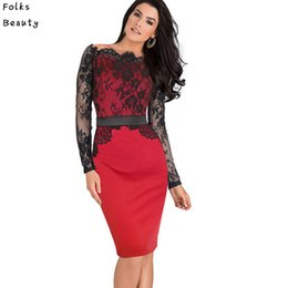 Wholesale Stretch Lace Belt - Wholesale-Women Belted Elegant Pinup Lace Crochet Tunic Stretch Colorblock Bodycon Pencil Sheath Dress
