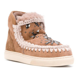 Wholesale Beading Materials - 2017 Eskimo New Winter Style Snow Ankle Boots 100% Fur Material 2.5cm Platform with Rhinestone Rubber Sole Shoes For Women