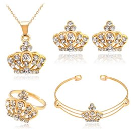 Wholesale Bridal Golden Crown - Luxury Golden Plated Bridal Wedding Jewelry Set Crystal Crown Pendant Necklace Earring Ring Bracelet Bangle Cuff Set for Women