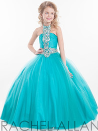 Wholesale Turquoise Blue Halter Pageant Dress - Halter Ball Pageant Dresses Off The Shoulder vestido de la muchacha desfile Kids Clothes Turquoise Flowers girl Dress Gown