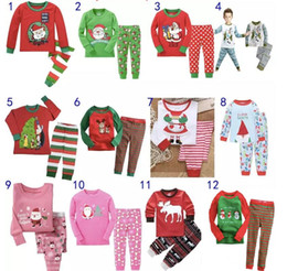 Wholesale Girl Santa Suit - Hot Kids Babys Pajamas Long Sleeve Tshirt Pant suit Winter Christmas Deer Santa Printing Sleepwear Nightclothes For boys girls Kids clothing