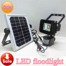 Wholesale Solar Floodlighting - hot sale 10w solar power pir Infrared Motion carport security High brightness led floodlight Garden flood Wall Light