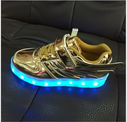 Wholesale Lighting Usb Genuine - 2016 Children Led Lighter Flying Shoes 4 Colors Boy And Girl Can Charge By USB Sport Fashion Shoe Kids Casual Shoe Child Fashion Sneaker