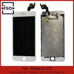 Заменить сенсорный экран iphone онлайн-Wholesale-White for  6 display lcd assembly touch screen digitizer full replace + frame + camera & home button+ sensor flex cable