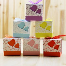 Wholesale Orange Wedding Favor Bags - 600pcs Love Heart Purple Pink Small Laser Cut Candy Bag Wedding Party Favor Gift Candy Boxes Ribbon Casamento Event Decorations