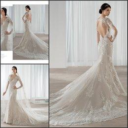 Wholesale Demetrios Mermaid Wedding Dresses - Elegant Long Sleeves Mermaid Wedding Dresses V-neck 2015 Lace Applique Backless Bridal Gowns Inspiration Demetrios Bride Dress 2016
