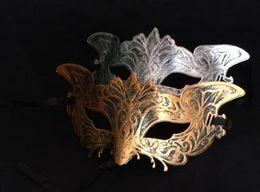 Wholesale Sliver Masquerade Masks - Brand new Men's vintage eagle mask Mardi gras Halloween masquerade gents plain mask gentleman Party Christmas bauta mask gold sliver gift
