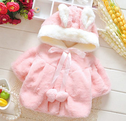 Wholesale Wholesale Toddler Faux Fur Coats - girls winter coats baby girl faux fur shawls kids fleece warm outwear children animal design waistcoat toddler boutique vest coat pink white