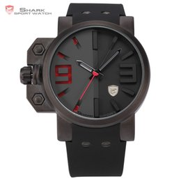 Wholesale Shark Military Sports Watch - Salmon SHARK Series Stainless Steel Case Black Red Dial Japan Movement Rubber Band Men Sport Quartz Casual Military Watch  SH172