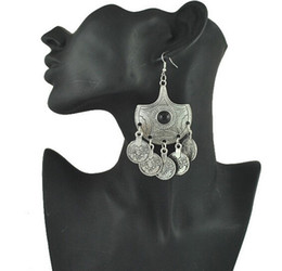 Wholesale Tribal Beads Wholesale - Tribal Statement Coin Earrings Ethnic Jewelry Vintage Silver Big Black Beads Drop Earrings Gypsy Coin Earring