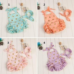 Wholesale Diapers One - Summer babies romper Gold Dot Sequins Lace Sleeveless with bow Headband 2Set Romper boutique diaper suit one-piece A7404
