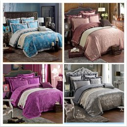 Wholesale Chinese Wedding Beds - Wholesale-6pcs Luxury chinese silk duvet covers queen king size embroidered pillow cushion cover wedding bedding sets Full Sheets