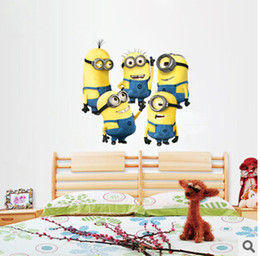 Wholesale Cheaper Wall Stickers - Cheap!!! Cartoon Despicable Me 2 Minions Wall Decals Stickers Removable Home Decor Decals Sticker Wallpaper Rolls Party Decoration by DHL