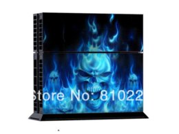 Wholesale Cheap Ps4 - Protective Vinly Decal Skin Stickers Wrap For PS4 Console+ 2 Controllers-Fire Ghost-0045 Other Accessories Cheap Other Accessories