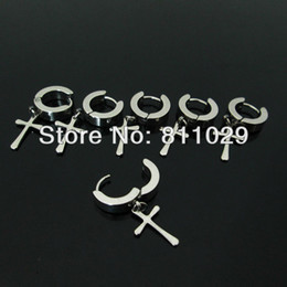 Wholesale Surgical Steel Earrings Hoops - Wholesale-Hot fashion jewelry 20pcs surgical stainless steel with dangle cross Small colors hoop Backing Earring Free shipping