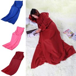 Wholesale Lazy Blanket - 3 Colors 170*135cm Soft Warm Fleece Snuggie Blanket Robe Cloak With Cozy Sleeves Wearable Sleeve Blanket Lazy Blankets CCA7851 200pcs