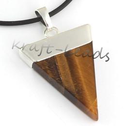 Wholesale Triangle Shaped Necklace - Wholesale 10pcs Fashion Charm Silver Plate Tiger's eye triangle shape chakra healing pendant Gift