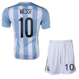 Wholesale Microfiber Football - Discount Argentina 2015 Soccer Jerseys,Chandal Argentina Jersey 15 16 Football Shirt+short Messi Aguero Soccer uniforms Set Free shipping