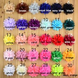 Wholesale Diy Flat Backs - 30pcs lot 7cm Beautiful Baby Girls Artificial Chiffon Hair Flowers 30 Colors Flat Back Floral For DIY Kids Headbands